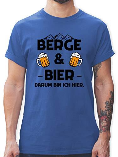 Sprüche - Berge und Bier schwarz - L - Royalblau - Herren t-Shirt Berge - L190 - Tshirt Herren und Männer T-Shirts