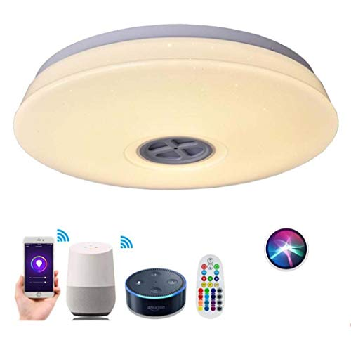 LED Muziek Plafond Licht met Bluetooth Luidspreker, 95V-265V Draadloze WiFi Smart Plafond Lamp, Stand door Alexa Echo & Google Smartphone APP Dimbaar, Ø40CM