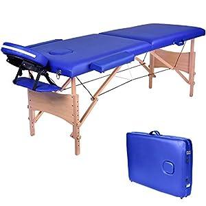 Wellhome Mesa de Masaje de 2 Secciones Madera Camilla Cama Portatil Plegable Ligera Camillas Masajes de Profesional Altura Ajustable Reiki con Reposacabezas, Apoyabrazos, Bolsa de transporte (Azul)