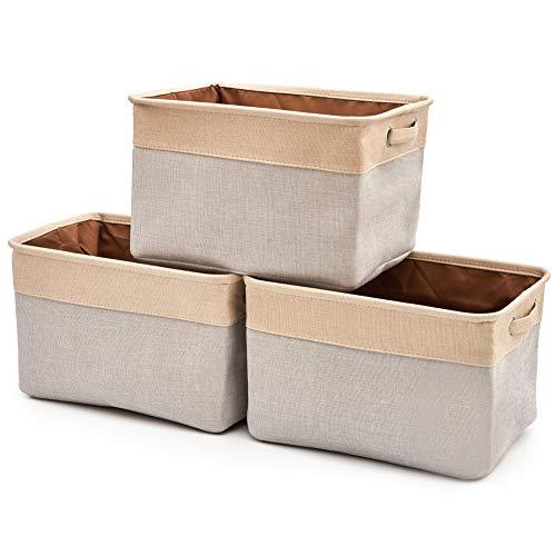 EZOWare 3 Pcs Caja de Almacenaje, Cestas Organizador de Tela Plegable con Manijas para Hogar, Oficina, Estanterías, Armarios, Ropa, Juguetes y mas - 38 x 27 x 24cm - Gris Claro/Beige