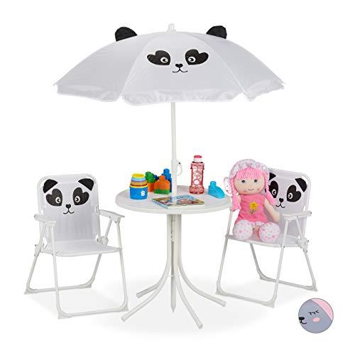 Relaxdays kinderzitgroep, kinderzitmeubelset met parasol, panda-motief, voor camping, strand & tuin, wit