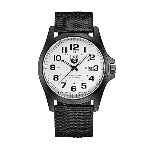MUTYLRR Reloj de Hombre Reloj del Deporte Militar Correa Tejida de Nylon Calendario Hombres de la Moda de Cuarzo Reloj de Cuarzo Reloj de Pulsera de Negocios Reloj de Mujer (Color : A)