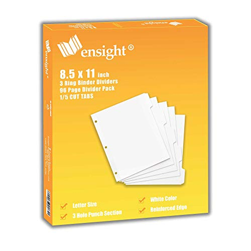 ensight 3 Ring Binder Dividers with Reinforced Edge, 1/5 Cut Tabs, Letter Size, 3 Hole Punch Section Index Dividers for Binders, White, 100 Page Divider Pack