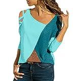 iHENGH Damen Top Bluse Lässig Mode T-Shirt Frühling Sommer Frauen Bequem Blusen Casual Panel Tops...