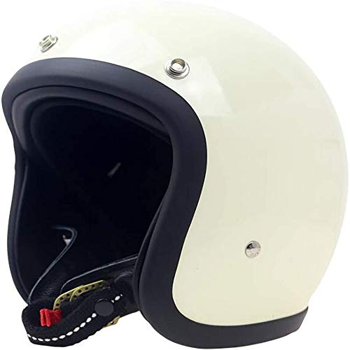 ZHXH Harley Motorradhelm Fiberglas 3/4 offener Helm Cruiser Helm Leder untere Stange abnehmbares Futter DOT ECE zertifizierter Straßenroller Fahrrad Halbhelm Retro Helm (optionale Farbe)
