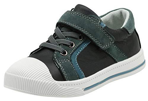 Apakowa Baskets Basses en Cuir d'enfants Unisexes, Mode Anti-dérapante Chaussures de Course Décontractées pour Garçons et Filles (Color : 29102-black, Size : 26 EU)