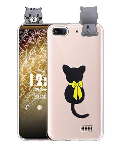 Sunrive Cover per Honor 4C/Huawei G Play Mini, Custodia 3D Case in Molle Trasparente TPU Silicone Morbida Flessibile AntiGraffio Protettiva Protector Back custodie Bumper(W1 Gatto)