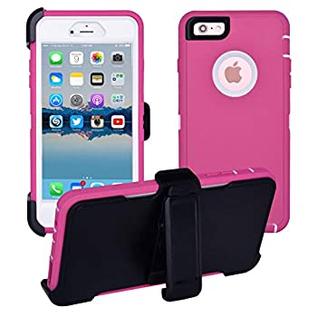 iPhone 6 Plus / 6S Plus Cover | 2-in-1 Screen Protector & Holster Case | Military Grade Edge-to-Edge Protection with carrying belt clip | Drop Proof Shockproof Dustproof | Pink / White
