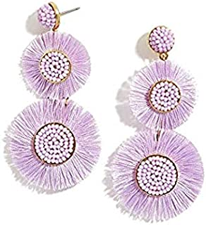 MARIETTE FRINGE DROP EARRINGS IN LAVENDER