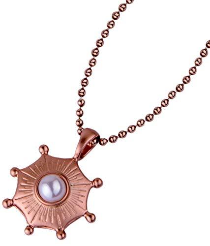LERA GINSBURG - Collar para mujer con colgante de amuleto marítimo, perla cultivada en agua dulce en plata de ley 925, 45 cm de largo (plata chapada en oro rosa)