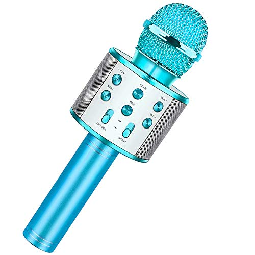 Karaoke Microphone for Kids, Wireless Bluetooth Karaoke Microphone, Machine Microphone with MP3 3-12 Year Old Boys Girls Birthday Gifts Hot Toys for Adults Birthday Party KTV Christmas (Blue)