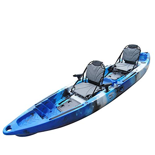BKC TK122 Angler 12-Foot, 8 inch Tandem 2 or 3 Person Sit On Top Fishing Kayak w/Upright Aluminum Frame Seats and Paddles (Blue Camo)
