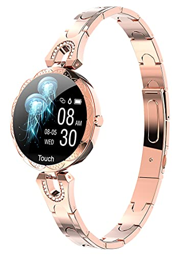 Smart Watch for Women,Waterproof Fitness Tracker with Heart Rate Blood Pressure Luxury Gold Crystal Bracelet Calorie Counter Pedometer Call Message Reminder Sleep Activity Tracker for Android iOS