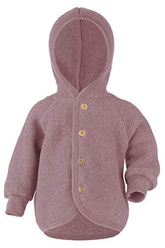 Engel Baby Jacke mit Kapuze Wollfleece, 62-68/62/68, Rosenholz Melange 051E