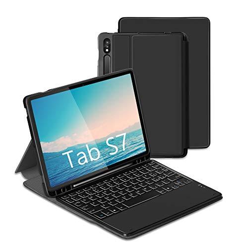 Jelly Comb Custodia con Tastiera per Samsung Tab S7 11'' Custodia Protettiva per Samsung Tablet (SM-T870 / 875), Tastiera Bluetooth Rimovibile retroilluminata a Sette Colori, QWERTY Nera
