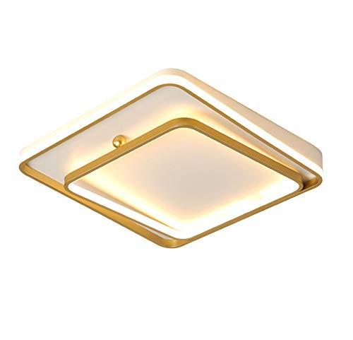 Plafón LED Cuadrado para Dormitorio Regulable Moderno Sala De Jóvenes Lámpara De Techo Diseño Geométrico Creativo Luces De La Sala Habitación De Hotel Balcón Dorado Luces Decorativas,L40CM/26W