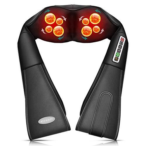 ETEREAUTY Shiatsu Nackenmassagegerät mit Wärme, Massagegerät mit acht Massageköpfen für Schulter Nacken Rücken, Elektrisch Schulter Massagegerät Eignet Sich für den Einsatz in Büros, Hause und Autos