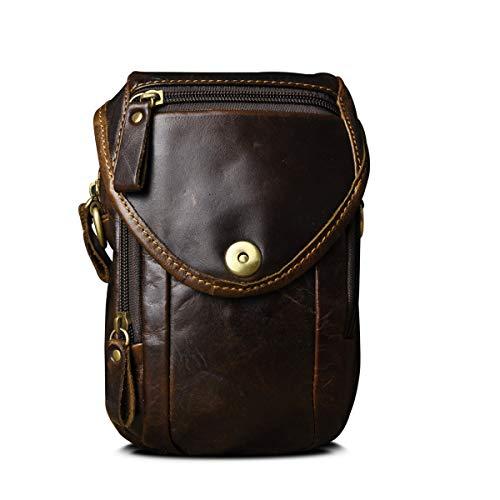 Le'aokuu hombres cuero genunio bolsa de mensajero bandolera bolsa de teléfono bolsa de viaje al aire libre bolsa de cintura con ganche 269 (269 Café)