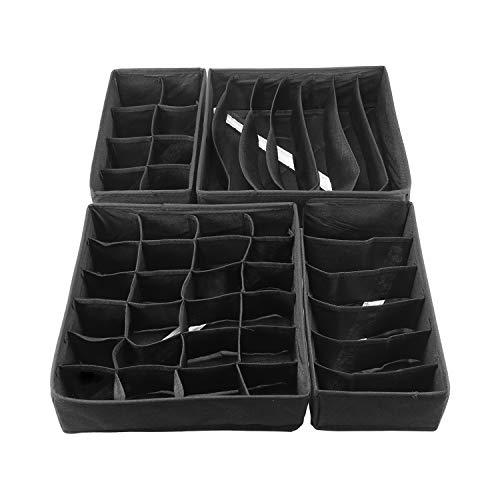 Qisiewell Aufbewahrungsbox Für Unterwäsche 4er Set Schubladen-Organizer Faltbox Stoffbox Für Kleiderschrankschubladen Unterhöschen Socken BHS (Schwarz)