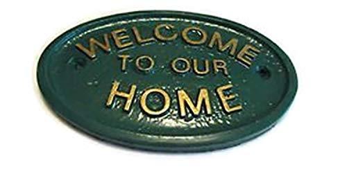 Home Works Bienvenue dans Notre Maison Maison/Jardin Plaque Murale en Vert