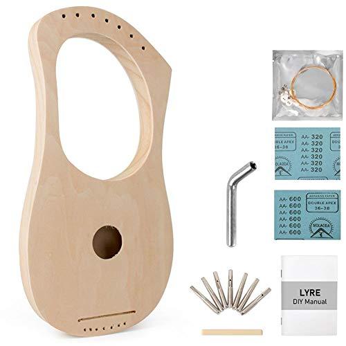 Tragbar 7 Saiten Lyre Harp, DIY Kit, Streifen Stahlschnur, Stimmschlüssel, Selbstorganisation Malbar Linde Machen Für Geschenke, Souvenir, Zu Freunden (Color : Wood Color, Size : 16.4x33.4cm)