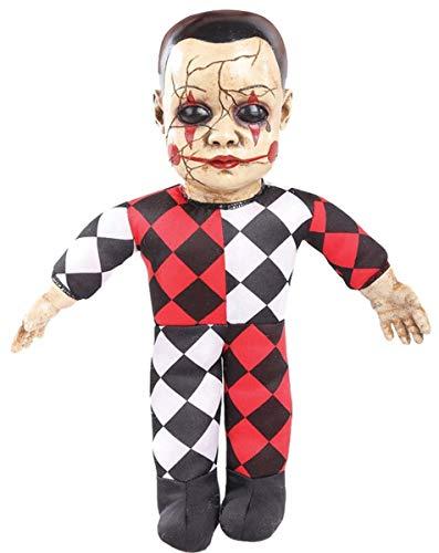 Seasonal Visions Schaurige Horror-Puppe Harlekin mit Sound Halloween Dekofigur bunt 37x20x11cm Einheitsgröße