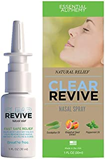 Clear Revive - All Natural, 24 Hour Fast Relief, Drug Free, Non-Habit Forming, Moisturizing Allergy Nasal and Sinus Spray (1 Pack)