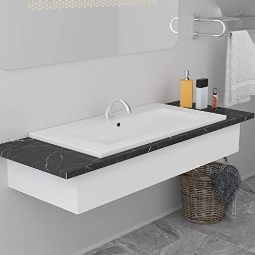 Waschbecken Waschbecken Waschtisch Waschtisch Waschtisch Waschtisch Waschbecken Waschbecken Einbaubecken 81x39,5x18,5cm Keramik Weiß