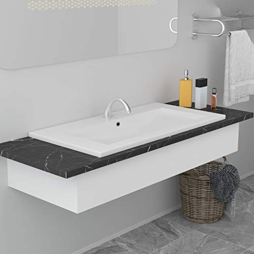 CASTLOVE Lavabo da Incasso 91x39,5x18,5 cm in Ceramica Bianco