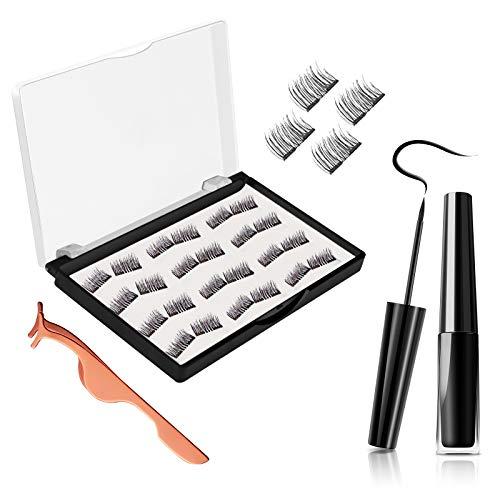 Magnetic Eyelashes, JDO Dual Magnetic Lashes 0.2mm Ultra-thin Magnet, Light weight & Easy to Wear, Best 3D Reusable Handmade False Eyelashes with Applicator (24 PCS) (Best Way To Remove Fake Eyelashes)