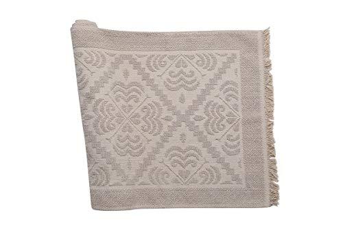 Cotton Royal Muschel-Teppich, Ecru, Relief, Jacquard, Bad, Küche, Wohnzimmer, Bettvorleger, Küche, Modell Giglio, gebrochenes weiß, 140 x 200 cm