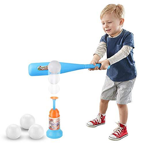Littlefun 2-in-1 T-Ball Set, 1 Blue Bat, 3 Balls, Automatic Launcher Baseball Bat Toys Indoor Outdoor Sports Baseball Games for Kids