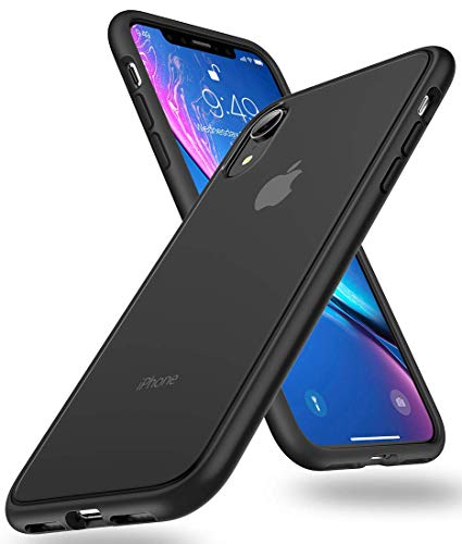 Humixx iPhone XR Hülle [Military Grade Drop Tested] Scrub Matte Transluzent Rückseite mit Silicon Bumper Schutzhülle,Anti-Kratzen,Anti-Fingerabdruck, Anti-Fall Handyhülle für iPhone XR-Schwarz