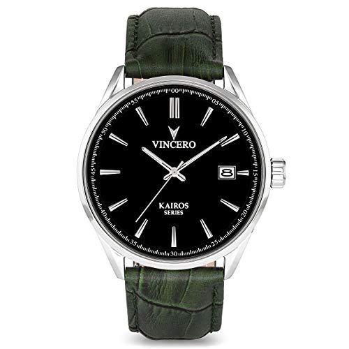Vincero Men's Kairos Luxury Watch 42mm Quartz Movement Black/Olive