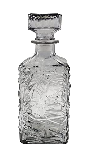 Nobile decanter in vetro di cristallo, caraffa decanter per whisky, vino, rum, cognac, vodka e molti altri spiriti bottiglia di whisky in vetro di cristallo con coperchio in vetro, 1000ml antracite.
