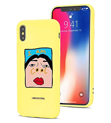 MAYCARI Cute Case for iPhone SE 2020/iPhone 7/iPhone 8, I Am So Cool Funny Slim Liquid Silicone Soft Rubber Protective Phone Case Cover (with Soft Microfiber Lining) for Women Girls - Yellow