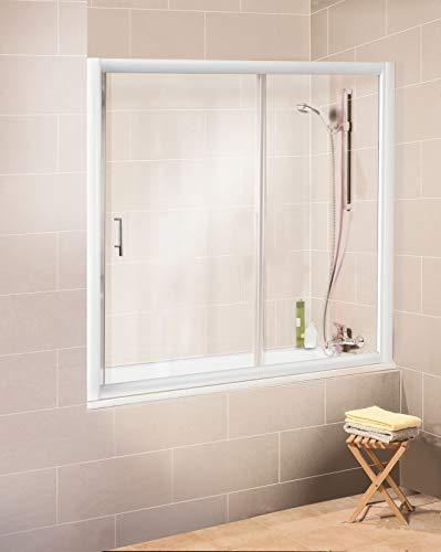 Schulte Pare-baignoire coulissant, paroi de baignoire en niche, 2 volets, verre transparent, profilé blanc, 160x150 cm