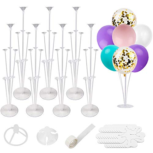 RUBFAC 7 Sets of Balloon Stand Kits, Reusable Clear Balloon Stand for Table, Including Glue, Tie Tool, Flower Clips, Table Balloon Stand Suitable for Party and Wedding Decorations, Celebrations.