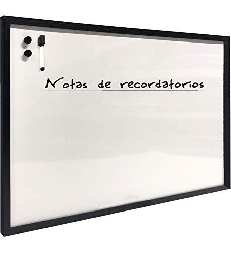 Chely Intermarket Pizarra blanca magnetica 90x60cm/Perfil-Negro/con marco de madera. Perfecta para usar en casa y la oficina, superficie magnetica suave y deslizante(555-90x60-2,70)