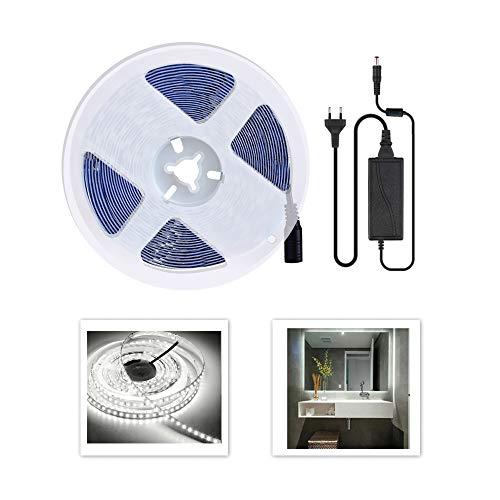 Arotelicht Tira de luz LED 5 m, 12v SMD2835 600 leds con fuente de alimentación, IP20 Blanca frío iluminación interior