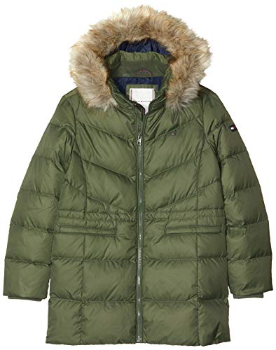 Tommy Hilfiger Mädchen DG ESSENTIAL DOWN COAT Mantel, Grün (Green Llp), 128 (Herstellergröße:8)