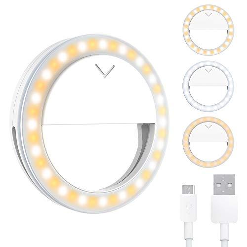 Selfie Light, Selfie Ring Light, Ring Light for Mobile Phone, 40 LED Ring Light with 3 Colours, Adjustable, Rechargeable LED Ring Light for Make-Up, Selfie, YouTube Video and Instagram.