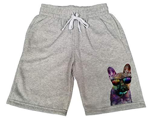 Men's Galaxy Rave French Bulldog Head B675 Gray Fleece Jogger Sweatpants Gym Shorts X-Large