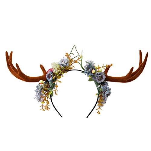 Smonke Frohe Weihnachten Stirnband Bunte Unisex Mode niedlichen Geweih Stirnband Hirsch Partyhüte für Ostern Weihnachten schöne Accessoires