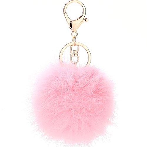 ETENOVA Pom Pom Keychain Genuine Rabbit Fur Ball Keychain Fluffy Accessories Car Bag Charm