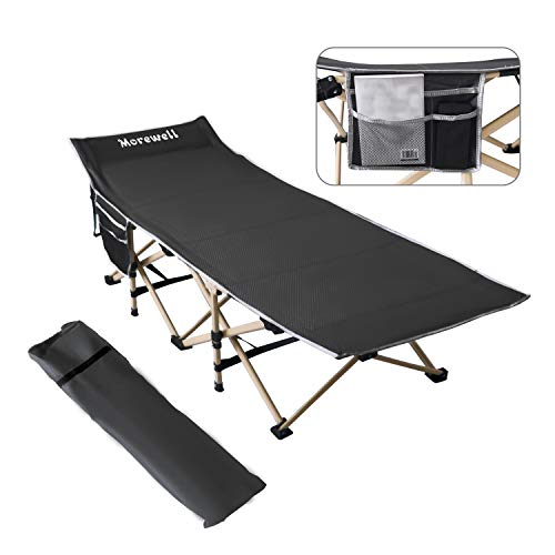 Folding Camping Cot with Carry & Storage Bag, Side Pockets, Lightweight Portable Bed for Office, Outdoor Camp, Beach, Travel, Sleeping Cot for Adults, 440LBS(Max Load) Heavy Duty, Easy Set Up (Black)