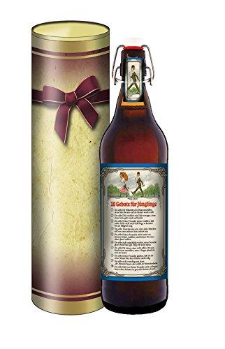 Bierpräsent in der Geschenkdose im Schleifendesign - 10 Gebote für den Jüngling