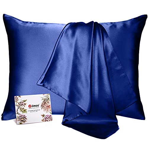 100% Mulberry Silk Pillowcase for Hair and Skin, Both Sides 19 Momme Pure Natural Silk Pillowcases Soft Breathable King 20''×36'', Navy Blue 1 Pack