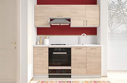 Bricozone Cucina Componibile Completa da Incasso con Mobili Base e Mobili Pensili Sospesi Cucinino Moderno in Legno Laminato da 180 Cm (Rovere Chiaro)