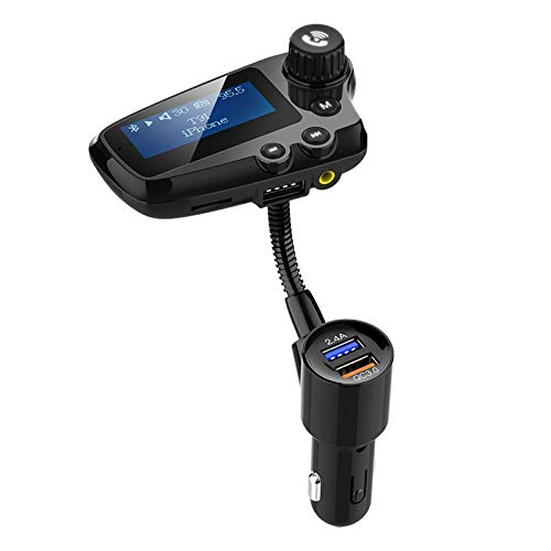 Youmine Kit de Coche 5.0 Transmisor FM Manos Libres Receptor de Audio AUX Reproductor de MP3 para AutomóVil QC3.0 Carga RáPida Pantalla LCD de 1.8 Pulgadas